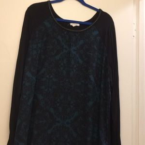 Green and black damask pattern shirt from Maurices